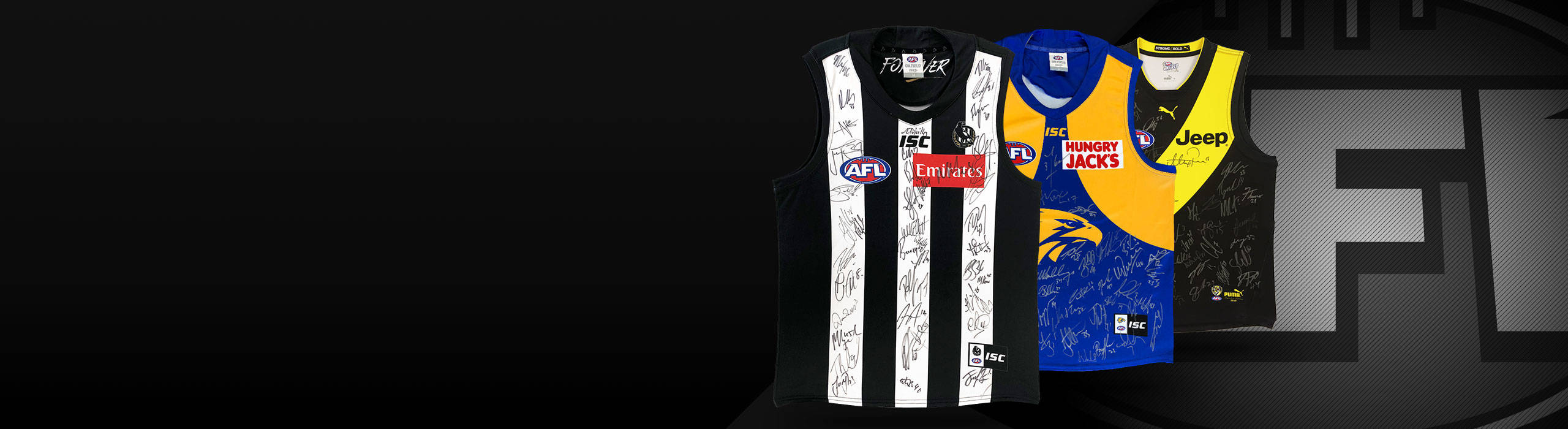 AFL 2019 TEAM SIGNED GUERNSEYS