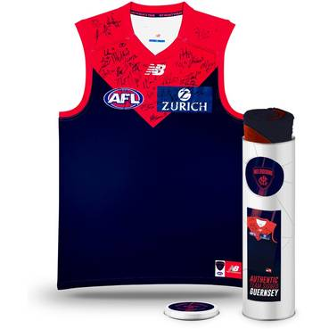 Melbourne Football Club 2018 Team Signed Guernsey in Tin