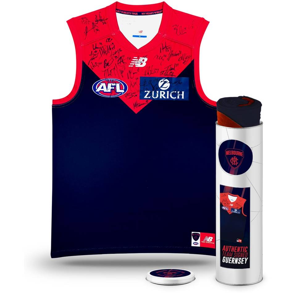 mainMelbourne Football Club 2018 Team Signed Guernsey in Tin0