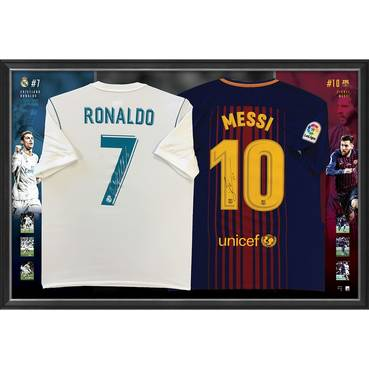 Ronaldo & Messi Signed Dual Jersey Display
