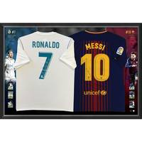 Ronaldo & Messi Signed Dual Jersey Display0