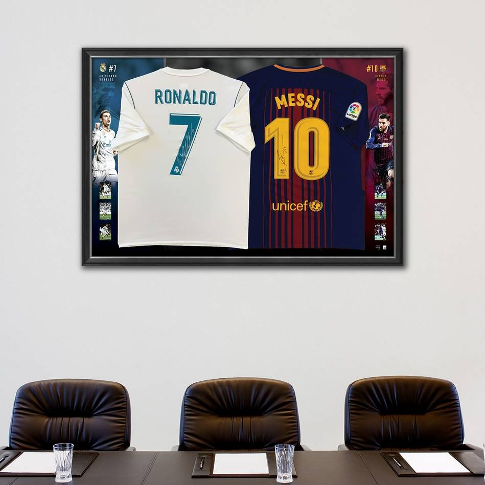 mainRonaldo & Messi Signed Dual Jersey Display1