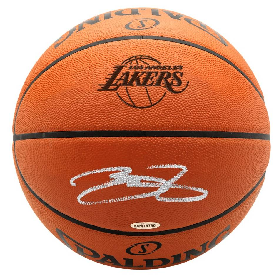 mainLeBron James Signed Lakers Logo Basketball0