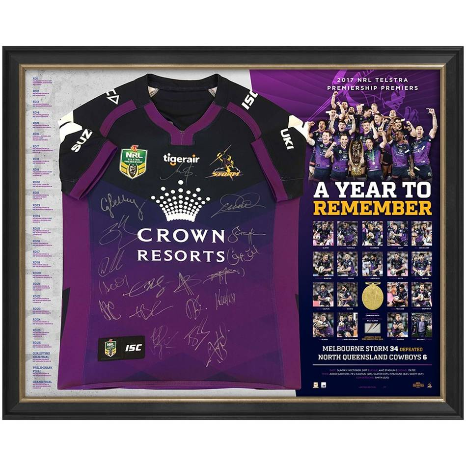 main*Edition 1/17* Melbourne Storm 2017 Premiers Team Signed Jersey Deluxe Edition0