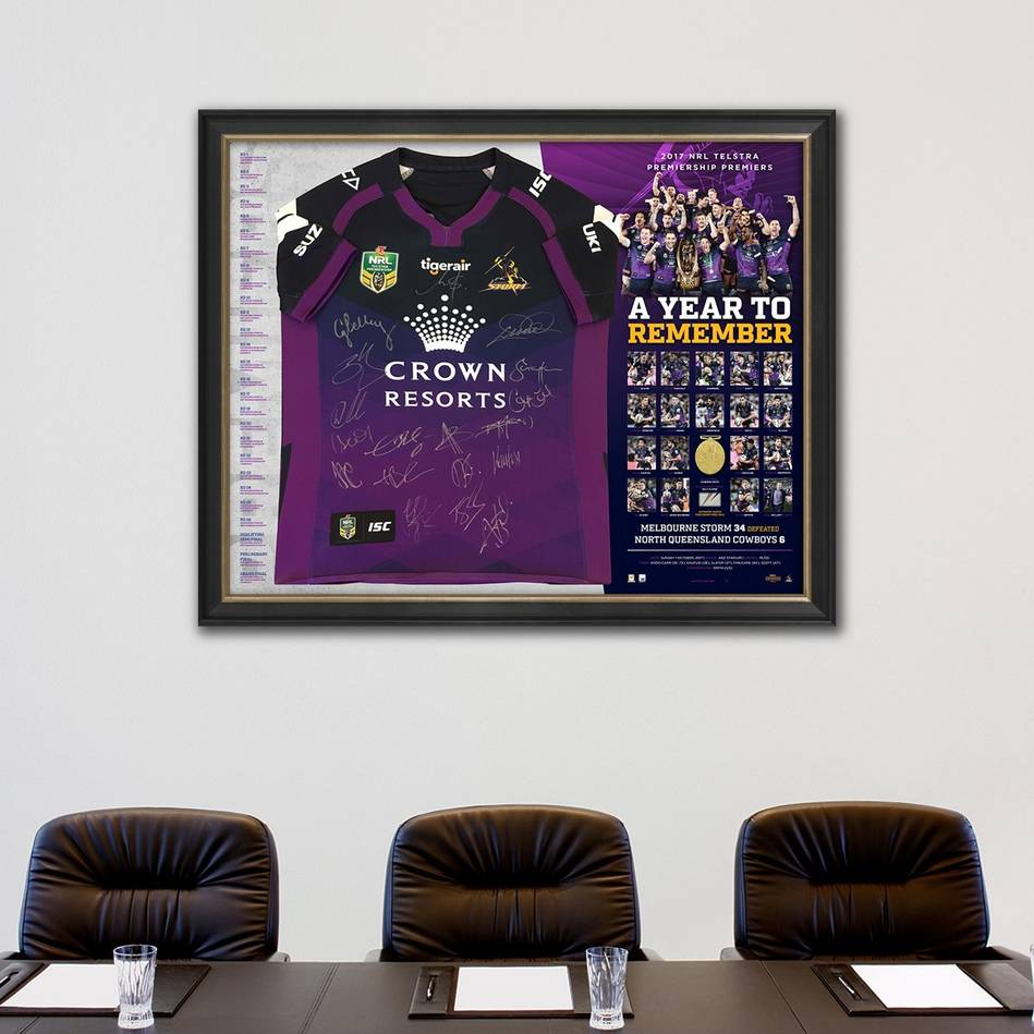 main*Edition 1/17* Melbourne Storm 2017 Premiers Team Signed Jersey Deluxe Edition1