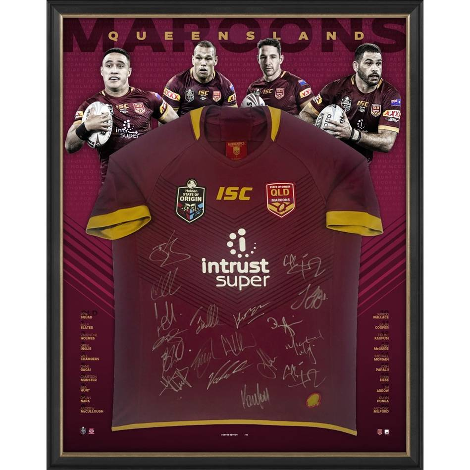 main*Edition 1/50* Queensland Maroons 2018 State of Origin Squad Signed Jersey0
