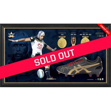 Johnathan Thurston Career Retrospective Signed Boot