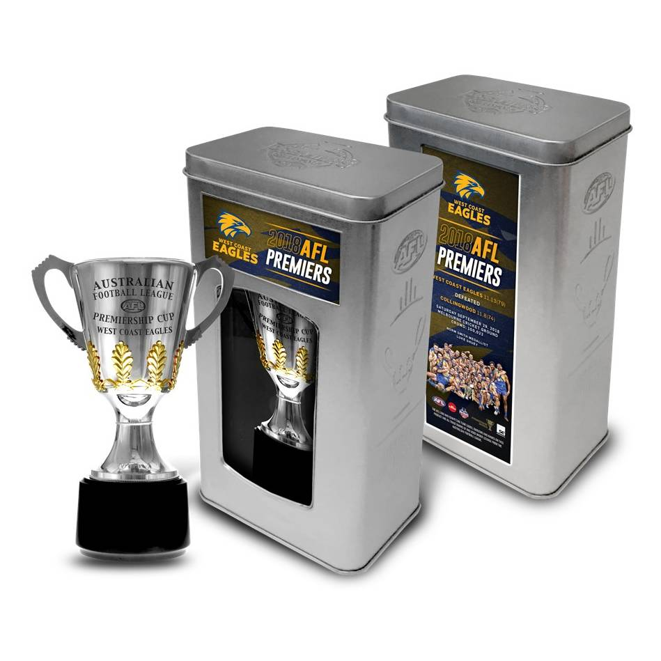 mainWest Coast Eagles 2018 AFL Premiership Trophy in Collector's Tin0