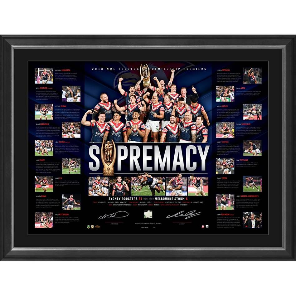 mainSydney Roosters 2018 NRL Premiers Dual Signed 'Supremacy'0