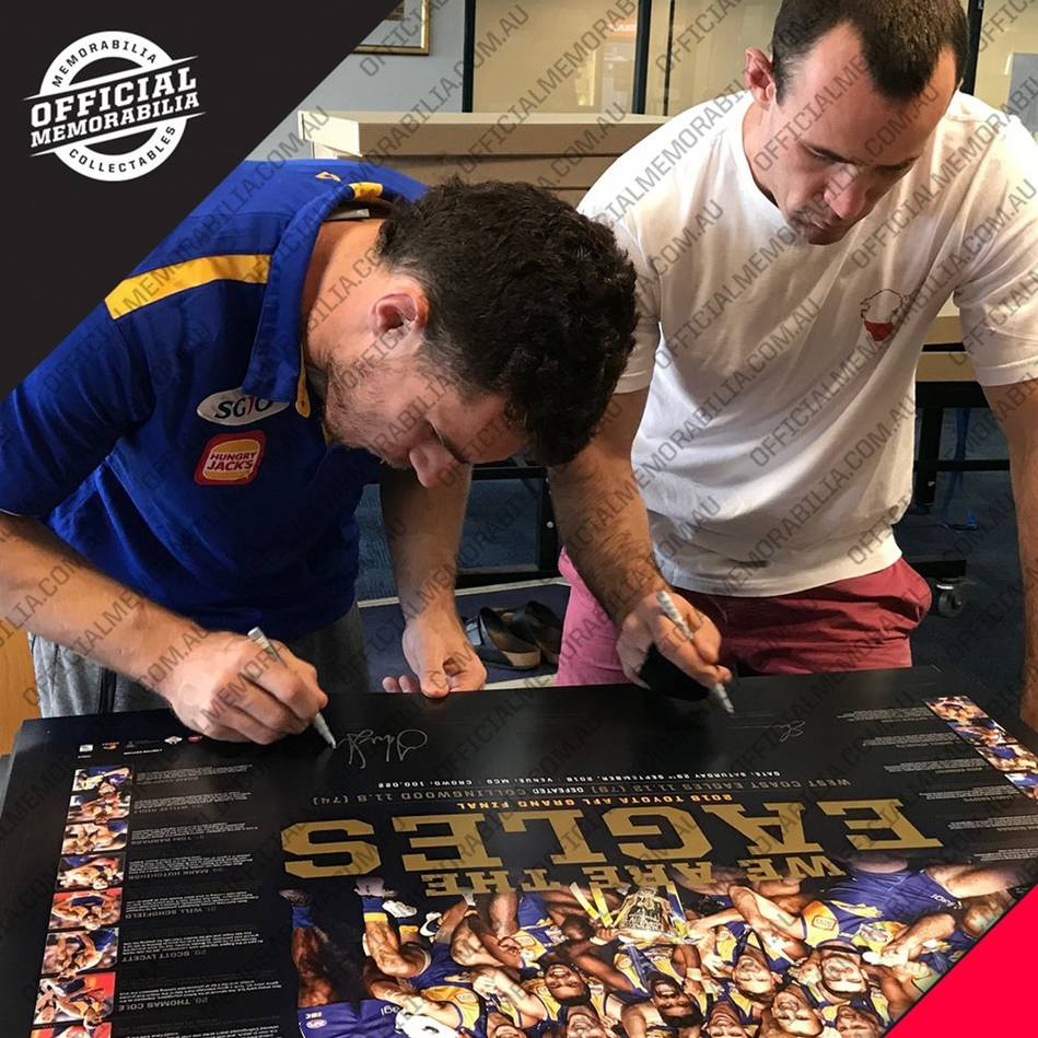 mainWest Coast Eagles 2018 AFL Premiers Dual Signed 'We are the Eagles'1