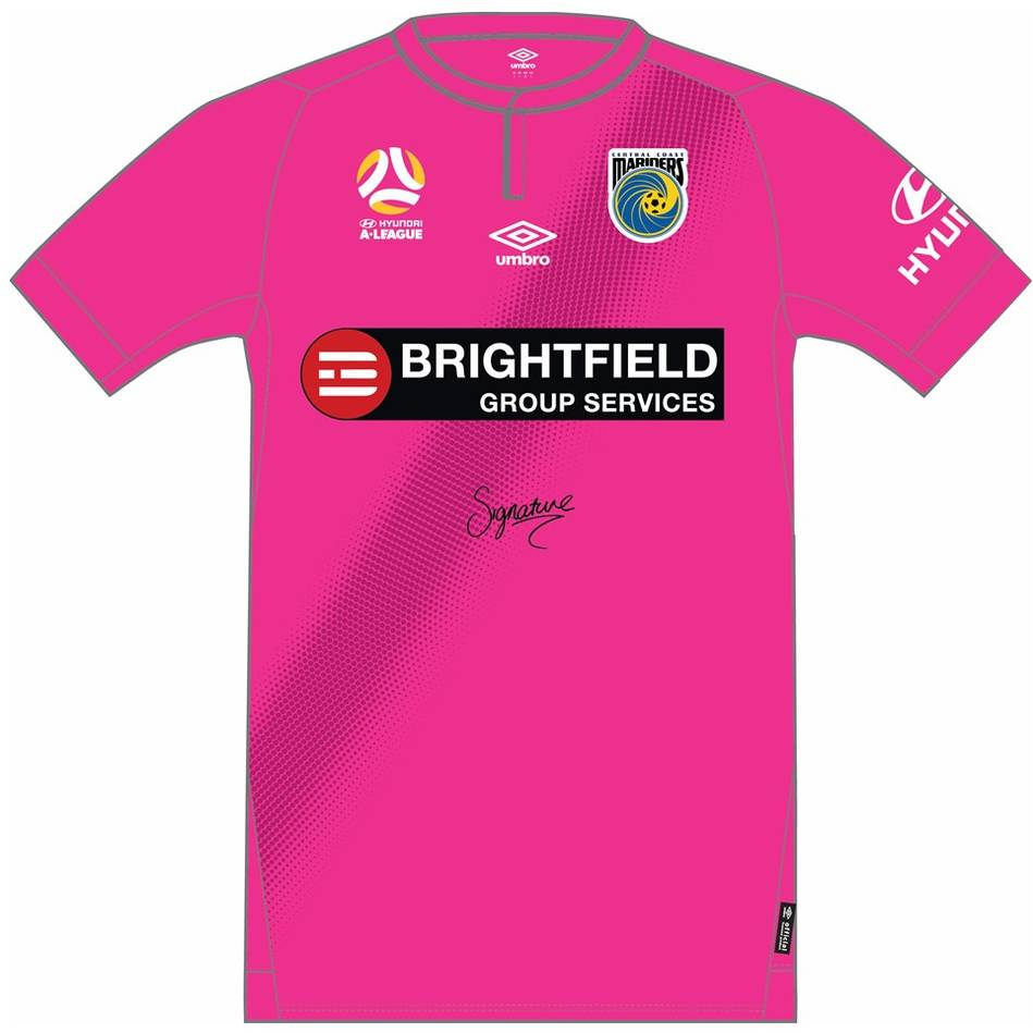 main#21 Corey Gameiro - Central Coast Mariners 2018 Signed Player-Issue Pink Jersey0