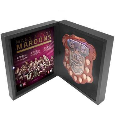 2017 HOLDEN STATE OF ORIGIN - QLD CHAMPIONS REPLICA SHIELD IN DISPLAY BOX