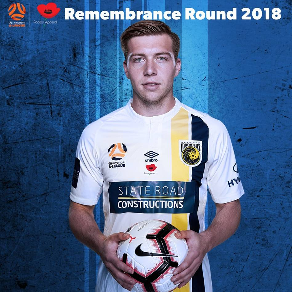 main#18 Matt Millar - Central Coast Mariners 2018 Team Signed Player-Issue Remembrance Jersey0