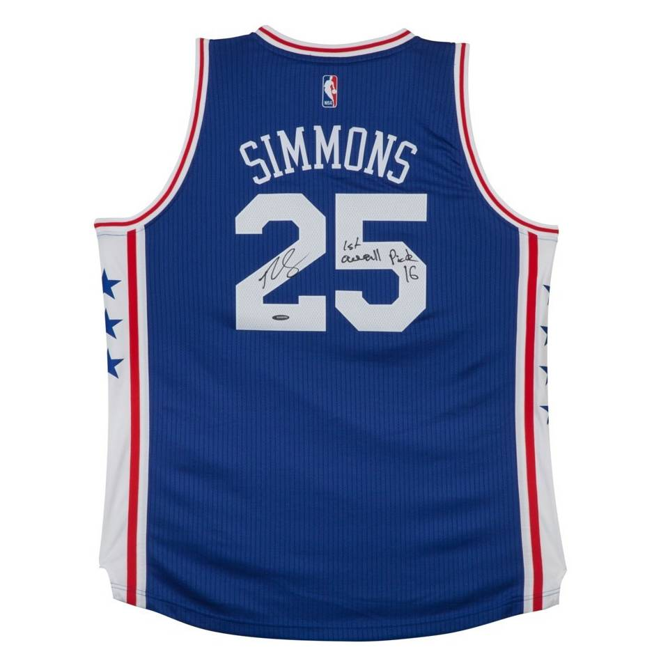 mainBen Simmons Signed & Inscription '1st Overall Pick '16' 76ers Away Jersey0