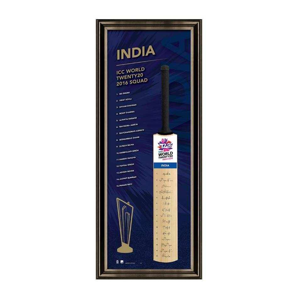 mainIndia 2016 ICC Twenty20 Team Signed Bat0