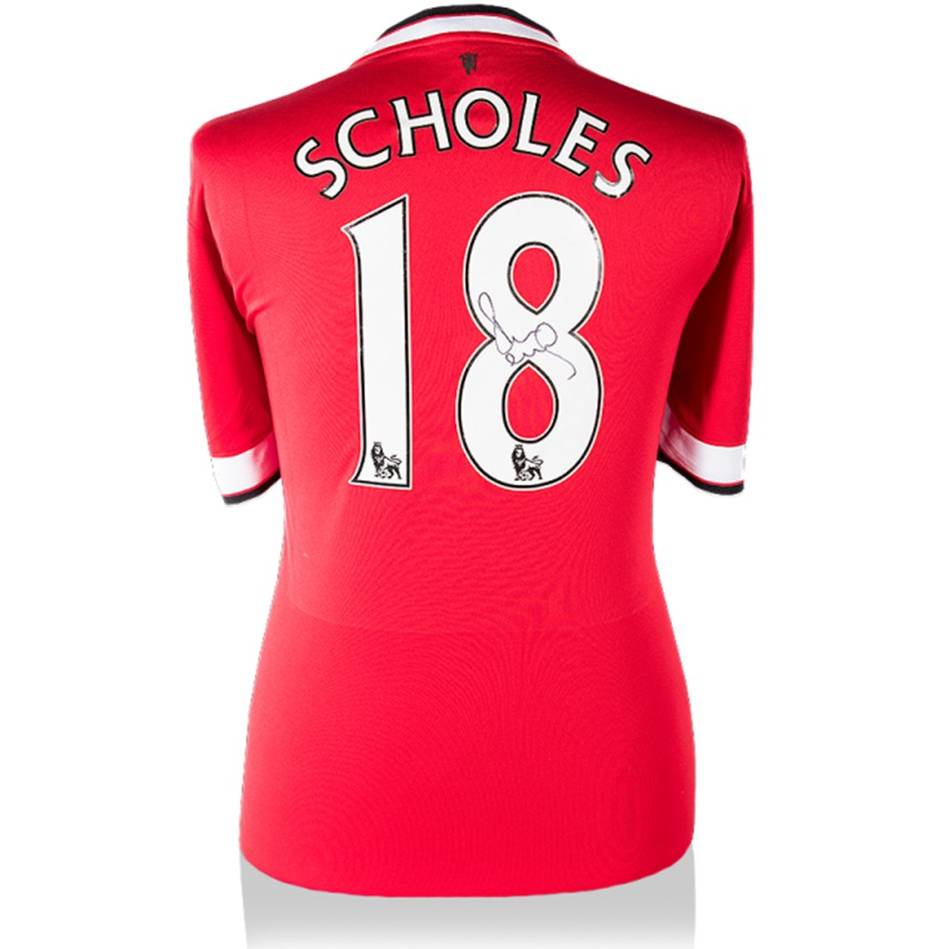separation shoes 55874 2d283 Paul Scholes Signed Manchester United 2014-15 Home Shirt | Official  Memorabilia