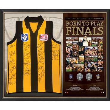 Hawthorn 1988-89 Premiers Team Signed 'Born to Play Finals'
