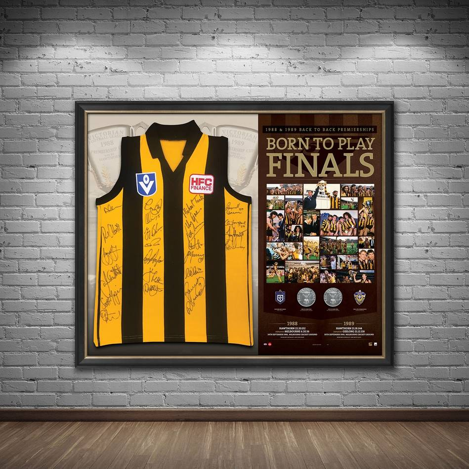 mainHawthorn 1988-89 Premiers Team Signed 'Born to Play Finals'1