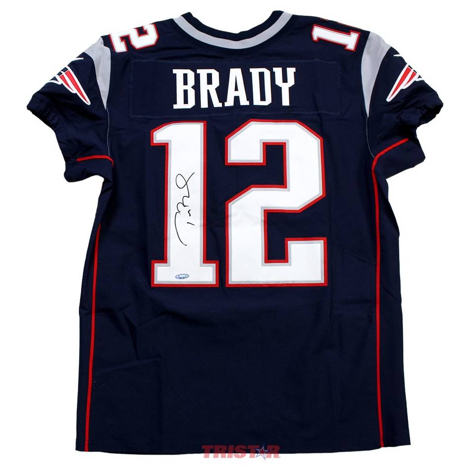 mainTom Brady Signed New England Patriots Nike 'Elite' Blue Authentic Jersey0