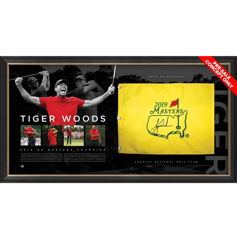 mainTiger Woods 2019 Masters Signed Pin Flag Display *Exclusive Pre-Release Price*0