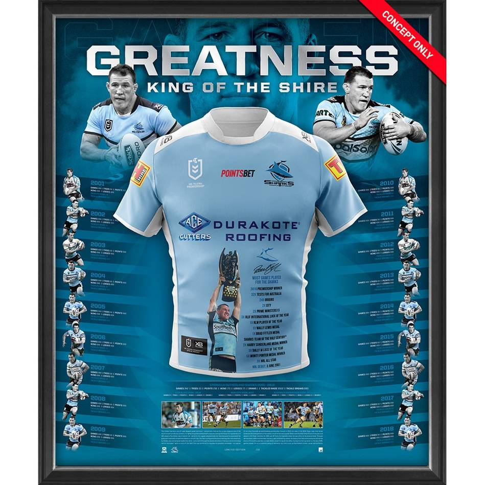 mainPaul Gallen Signed 'Greatness' Retirement Jersey Display0