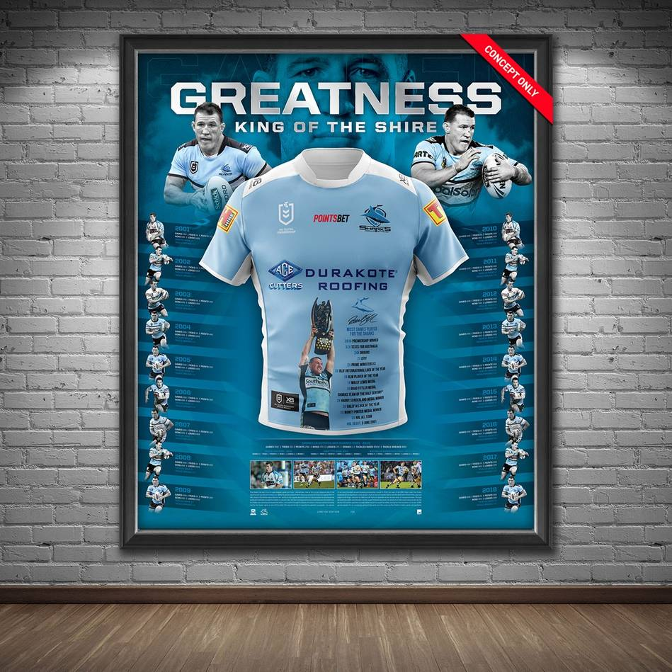 mainPaul Gallen Signed 'Greatness' Retirement Jersey Display1