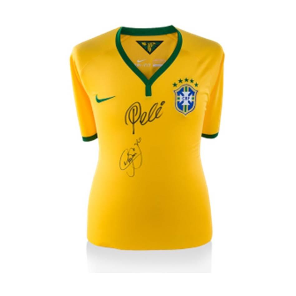 mainPELE AND NEYMAR JR DUAL SIGNED BRAZIL SHIRT0