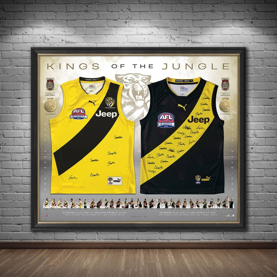 mainRichmond 2017 & 2019 Premiers Dual Team Signed Jumper Display1