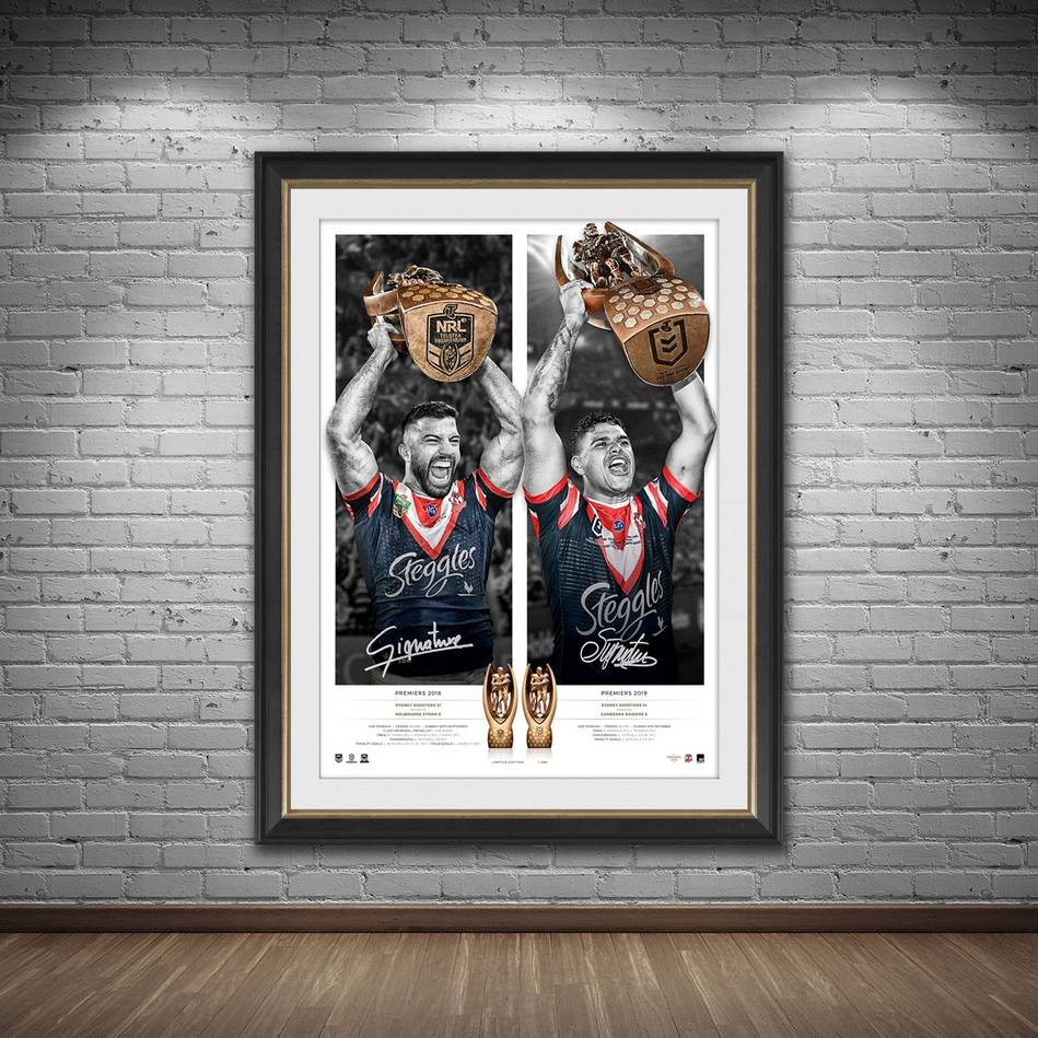 mainSydney Roosters 2019 Premiers Dual Signed Icon Series1