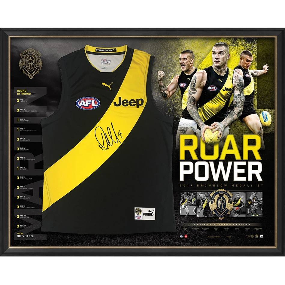 mainEDITION #1 – Dustin Martin 2017 Brownlow Signed 'Roar Power'0