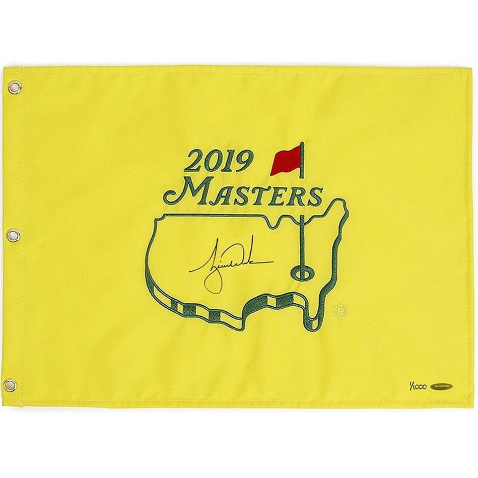 Tiger Woods Signed 2019 Masters Pin Flag0