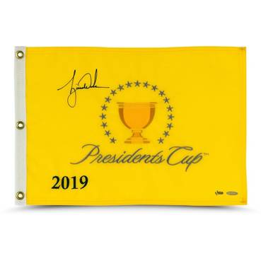 Tiger Woods 2019 Signed Presidents Cup Pin Flag