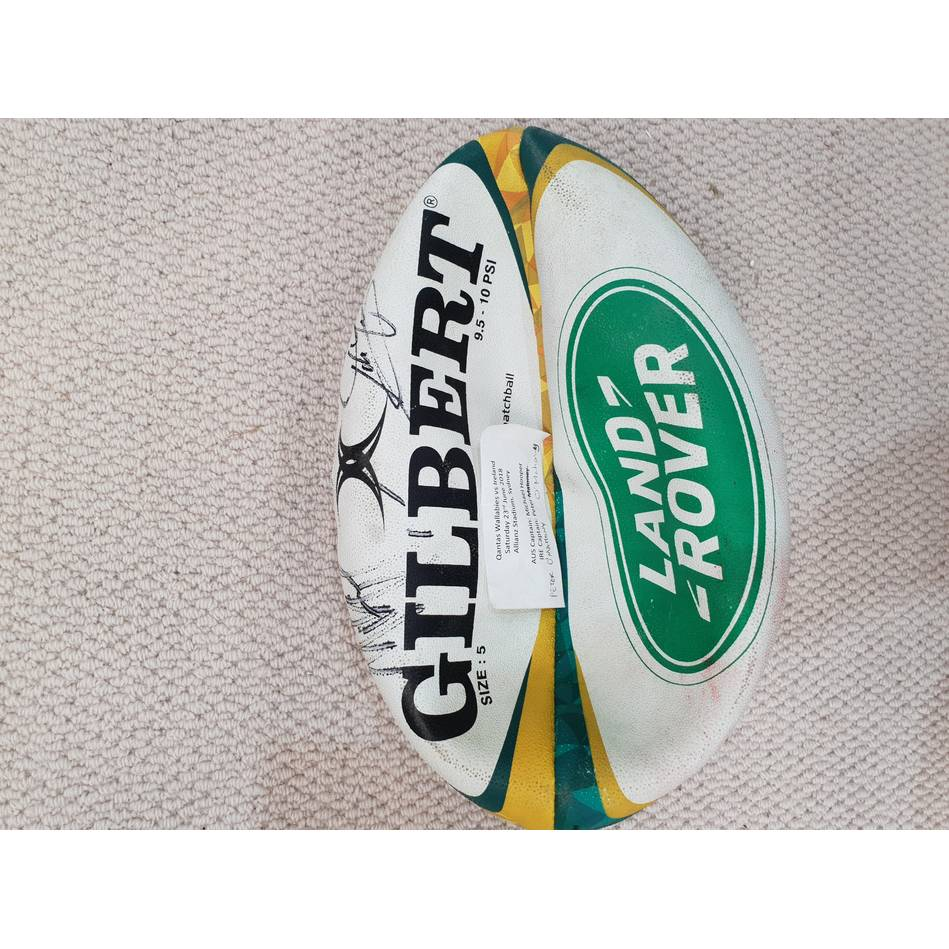mainQANTAS Wallabies 2018 Signed Match-Used Rugby Ball0