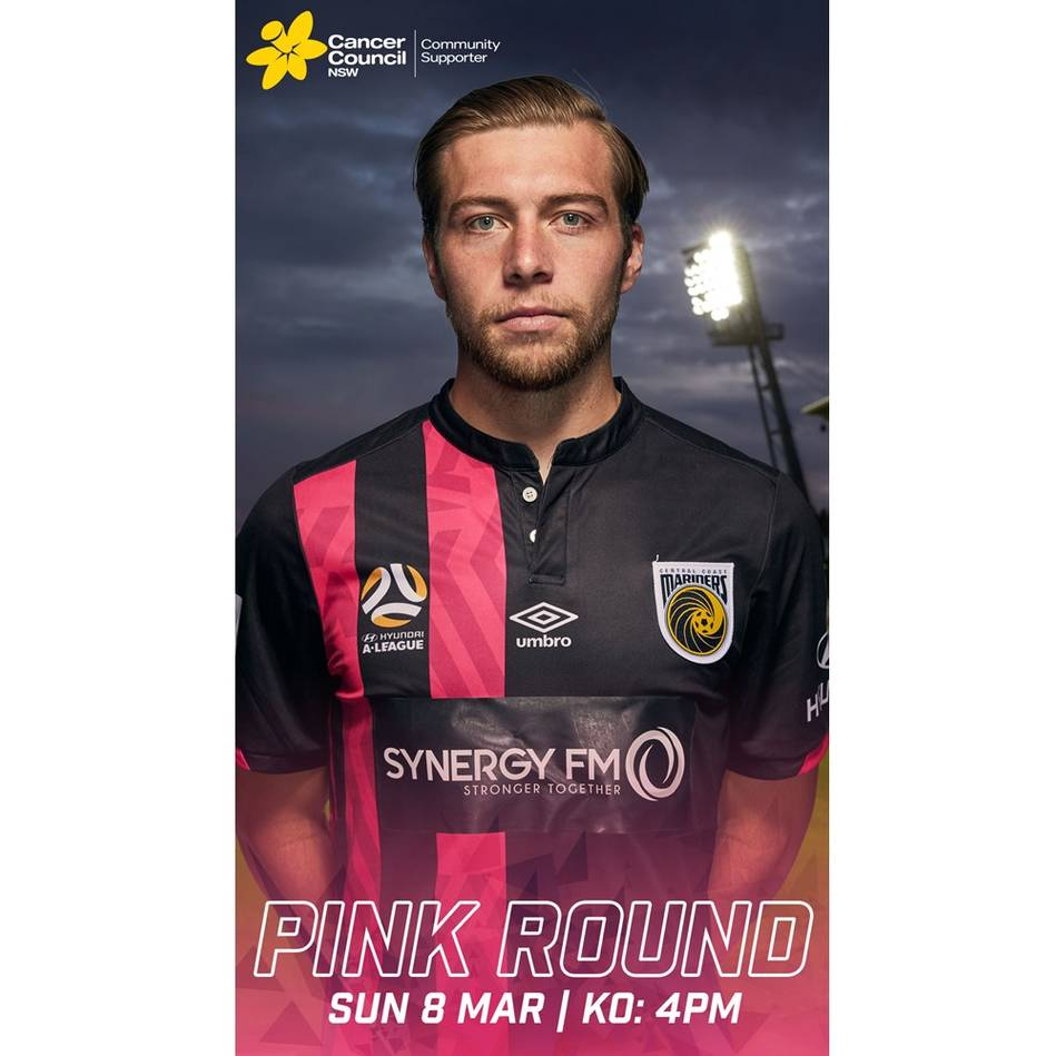 Jacob Melling #22 Central Coast Mariners 2020 Signed Pink Jersey0