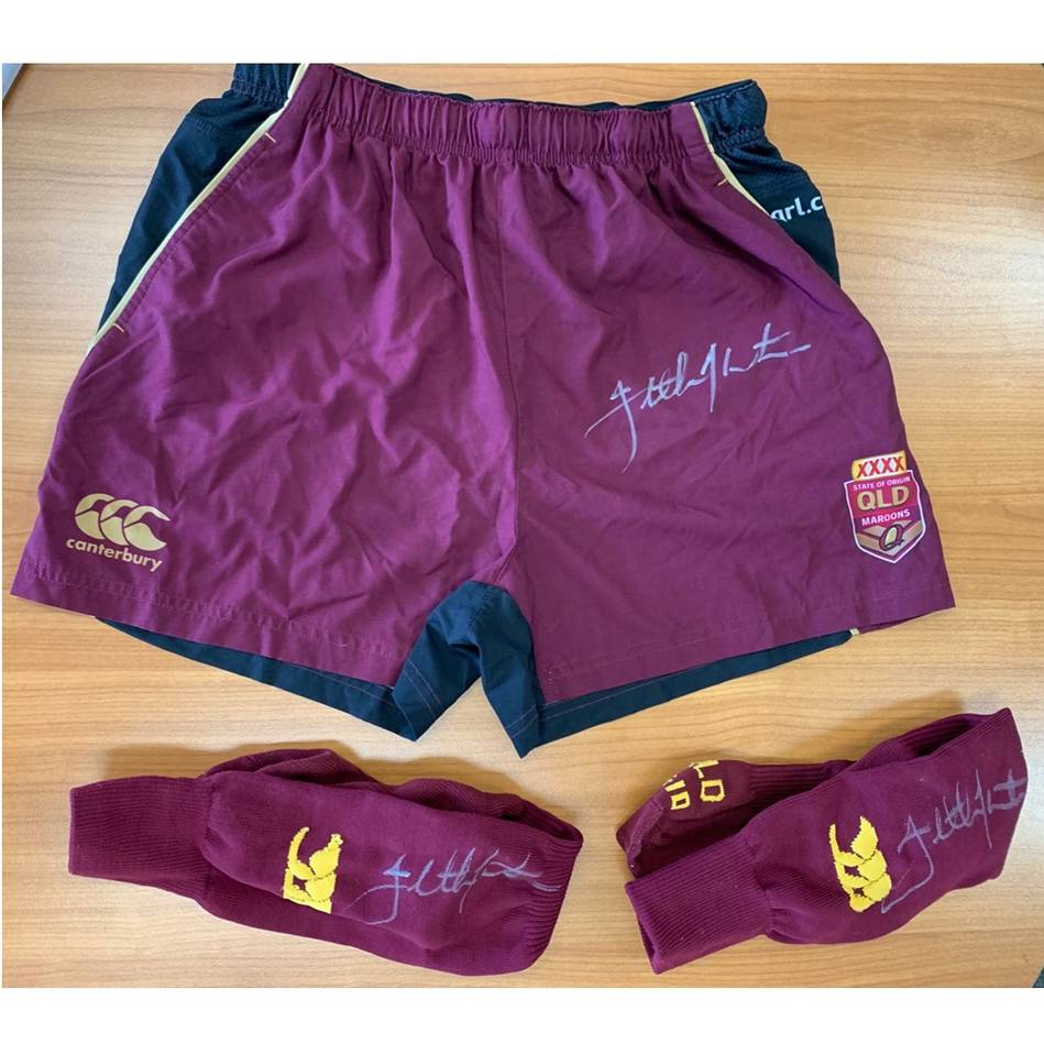 mainJohnathan Thurston QLD Maroons Signed Training Worn Shorts and Socks - Final Training Session0