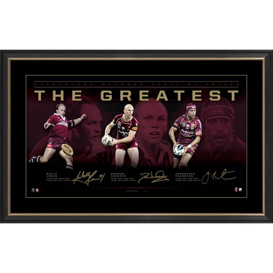 Maroons Triple Signed 'The Greatest' Artisan Collection0