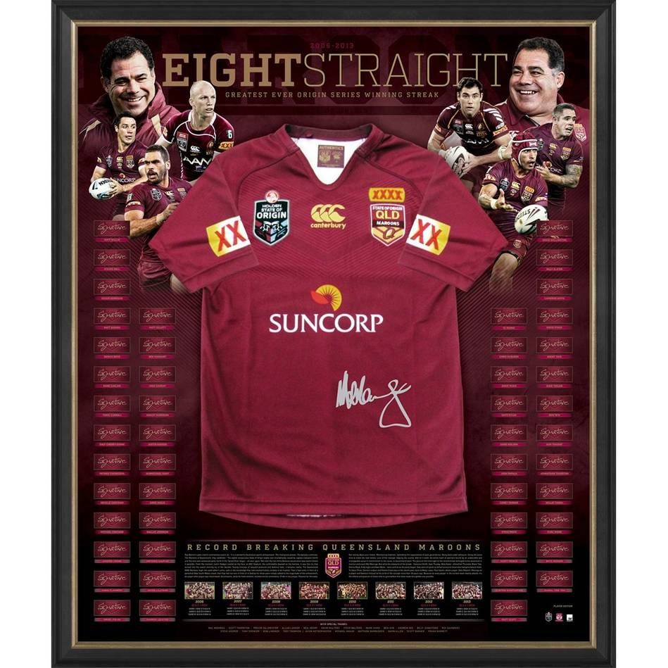 mainQueensland Maroons Signed Jersey 'Eight Straight' - LAST Artisan Edition0