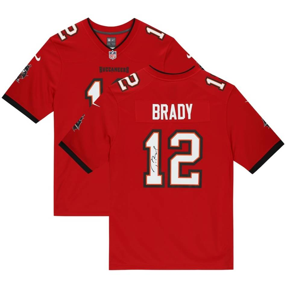 mainTom Brady Tampa Bay Buccaneers Signed Red Nike Game Jersey0