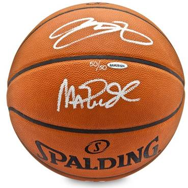 LeBron James & Magic Johnson Signed Spalding Basketball