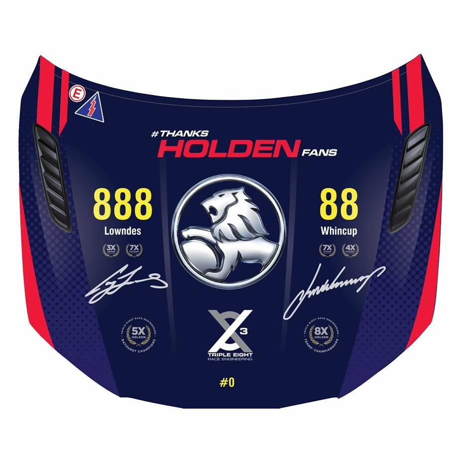 mainTriple Eight Dual Signed Holden VF Commodore Bonnet0