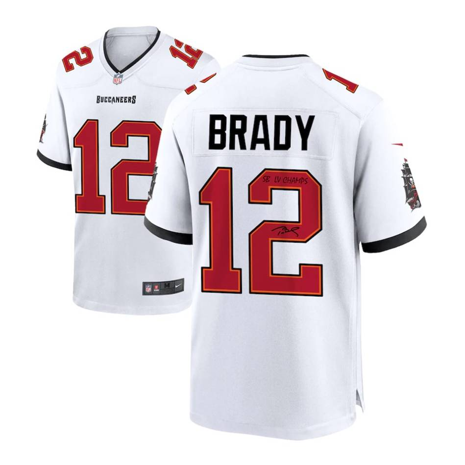 Tom Brady Tampa Bay Buccaneers Signed White Nike Game Jersey with