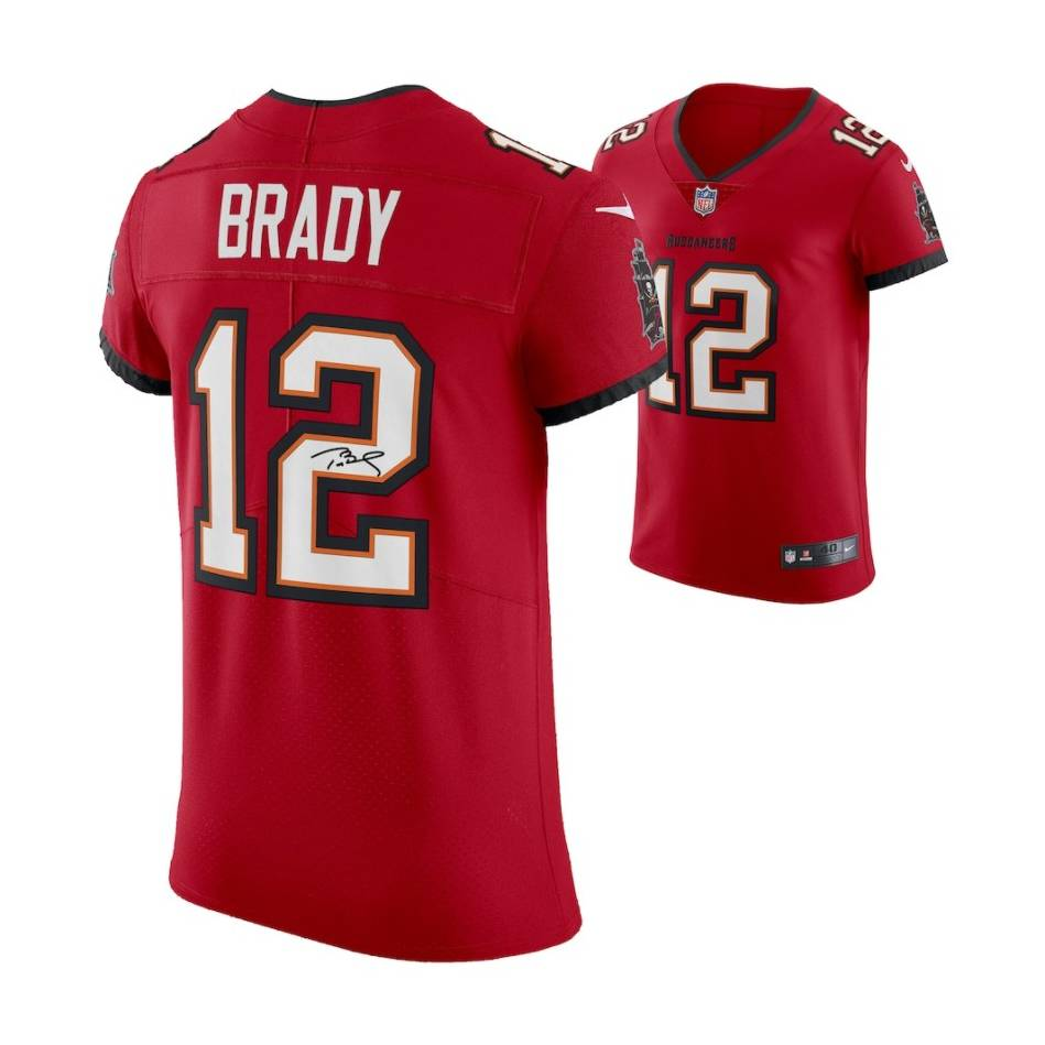 mainTom Brady Tampa Bay Buccaneers Autographed Red Nike Elite Jersey0