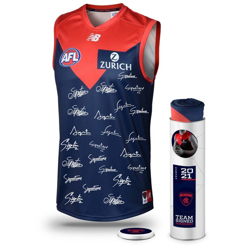 mainMelbourne Football Club 2021 Squad Signed Guernsey0