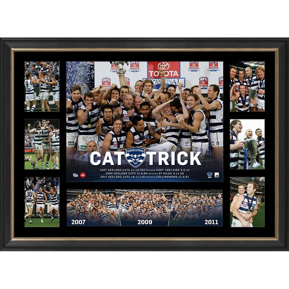 GEELONG CATS PREMIERS TRIBUTE FRAME 'CAT-TRICK'0