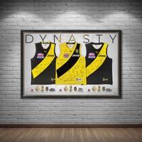 Richmond Premiership Dynasty Team Signed Triple Guernsey Display1