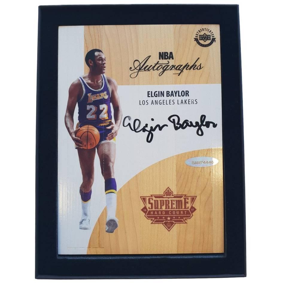 Elgin Baylor Signed NBA Supreme Hard Court Autographs Piece0
