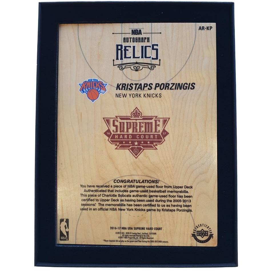 mainKristaps Porzingis Signed NBA Supreme Hard Court Autograph Relics Piece1