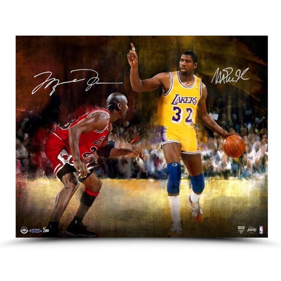 Michael Jordan and Magic Johnson Signed Match Up0