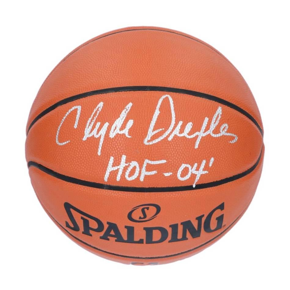 Clyde Drexler Houston Rockets Signed and Inscribed Spalding Basketball0