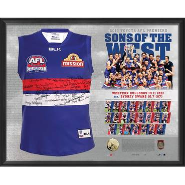 WESTERN BULLDOGS TEAM SIGNED PREMIERS GUERNSEY 'SONS OF THE WEST'